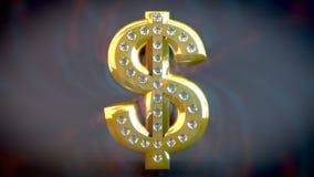 Muestras de dólar del oro que brillan intensamente con los diamantes Imágenes de archivo libres de regalías