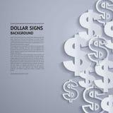 Muestras de dólar del vector en fondo gris Foto de archivo libre de regalías