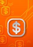 Muestras de dólar en fondo anaranjado de la tecnología Imágenes de archivo libres de regalías