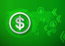 Muestras de dólar en fondo verde de la tecnología Imágenes de archivo libres de regalías