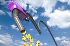 Muestras de dólar que gotean fuera de un surtidor de gasolina púrpura Imagen de archivo
