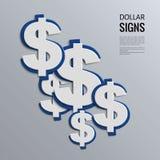Muestras de dólar del vector en fondo azul Foto de archivo libre de regalías