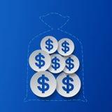 Muestras de dólar y fondo del azul del bolso del dinero Fotos de archivo libres de regalías