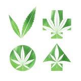 Muestras de la acuarela de la marijuana ilustración del vector