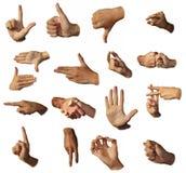 Muestras de la demostración de las manos. Gesticulation. Fotografía de archivo libre de regalías