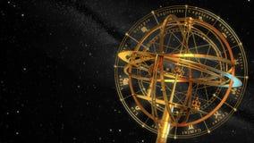 Muestras de la esfera armilar y del zodiaco Fondo negro ilustración del vector