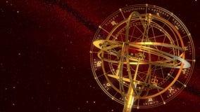 Muestras de la esfera armilar y del zodiaco Fondo rojo ilustración del vector