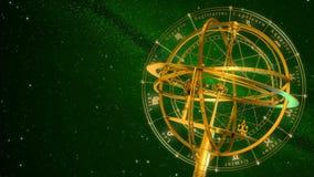 Muestras de la esfera armilar y del zodiaco Fondo verde stock de ilustración