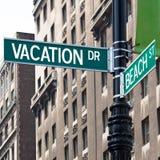 Muestras de la esquina de calle de las vacaciones Fotografía de archivo