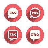 Muestras de la información del FAQ Burbujas del discurso de la ayuda Fotografía de archivo libre de regalías