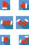 Muestras de la manopla de la Navidad: como, aversión, amor, hola, altos cinco, amistad Guantes del ` s de Papá Noel Pulgares de l Imagen de archivo libre de regalías