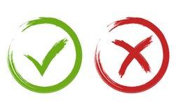Muestras de la señal y de la cruz Vector verde y rojo de la marca de cotejo ilustración del vector