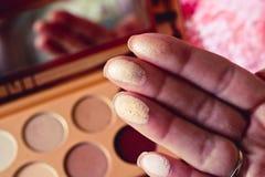 Muestras de la sombra de ojos en los fingeres de las hembras con la paleta de moda del sombreador de ojos en el fondo borroso imágenes de archivo libres de regalías