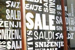 Muestras de la venta - concepto de las compras Imágenes de archivo libres de regalías