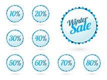 Muestras de la venta del invierno con porcentajes Imagenes de archivo