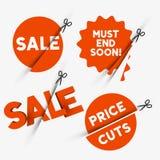 Muestras de la venta y símbolos del descuento Imagen de archivo libre de regalías