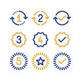 Muestras de los años de la garantía, período del servicio de la garantía, marca aprobada, línea iconos Imagen de archivo