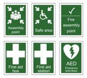 Muestras de los primeros auxilios y de la asamblea libre illustration