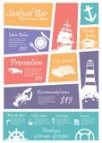 Muestras de los restaurantes de los mariscos del menú, carteles Fotos de archivo