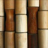 Muestras de madera de las formas cilíndricas Fotografía de archivo
