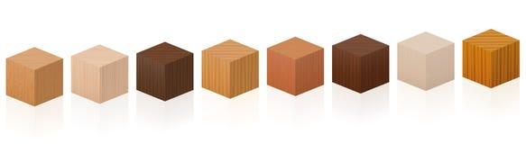 Muestras de madera de los cubos fijadas ilustración del vector