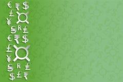 Muestras de moneda del Libro Blanco en fondo verde Imagen de archivo libre de regalías