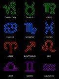 Muestras de neón del zodiaco Imagen de archivo libre de regalías