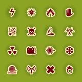 Muestras de peligro amonestadoras fijadas aisladas en verde Fotos de archivo libres de regalías