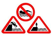 Muestras de peligro del agua profunda Imagen de archivo