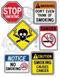 Muestras de peligro que fuman 2 Foto de archivo libre de regalías