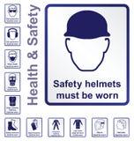 Muestras de salud y de seguridad Imágenes de archivo libres de regalías