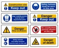 Muestras de seguridad de construcción Imagen de archivo