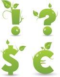 Muestras del alfabeto floral verde stock de ilustración
