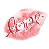Muestras del beso del lápiz labial, con amor de las letras y pequeños corazones rojos Beso realista del lápiz labial del vector Imagenes de archivo