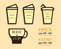 Muestras del café Elementos abiertos y cerrados padres libre illustration
