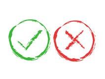 Muestras del cepillo de la señal y de la cruz Marca de cotejo verde ACEPTABLE e iconos rojos de X, aislados en el fondo blanco Ma Foto de archivo libre de regalías