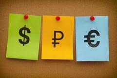 Muestras del dólar, de la rublo y del euro Fotos de archivo
