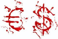 Muestras del dólar y del euro pintadas rojas Imagen de archivo