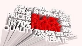 Muestras del descuento de la palabra y del porcentaje de Black Friday Imagen de archivo