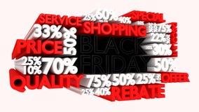 muestras del descuento de la palabra y del porcentaje de 3D Black Friday Imagenes de archivo