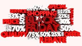muestras del descuento de la palabra y del porcentaje de 3D Black Friday Fotos de archivo libres de regalías