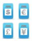 Muestras del diseño de la ilustración del símbolo de las zonas del dinero en circulación Foto de archivo libre de regalías