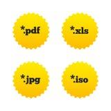 Muestras del documento Símbolos de las extensiones de archivo Foto de archivo