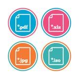 Muestras del documento Símbolos de las extensiones de archivo Fotografía de archivo libre de regalías