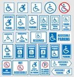 Muestras del estacionamiento de Accesible, personas discapacitadas que parquean iconos libre illustration