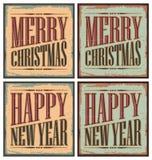Muestras del estaño de la Navidad del estilo de la vendimia Fotos de archivo