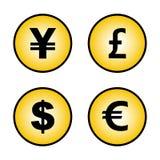 Muestras del euro del dólar de la libra de los yenes de las monedas stock de ilustración