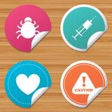 Muestras del insecto y de la vacuna Corazón, iconos de la poder de espray Fotografía de archivo libre de regalías