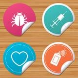 Muestras del insecto y de la vacuna Corazón, iconos de la poder de espray Foto de archivo