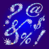 Muestras del invierno con los copos de nieve Imágenes de archivo libres de regalías